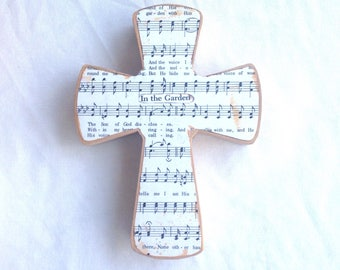 In The Garden Wood Wall Hymnal Cross