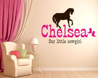 Our Little Cowgirl Horse Vinyl Wall Decal. Vinyl color of your choice.
