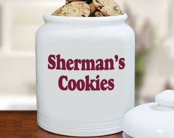 Any Message Ceramic Personalized Cookie Jar, cookie jar, cookie container, cookie, ceramic, white, personalized, red -gfyU367715