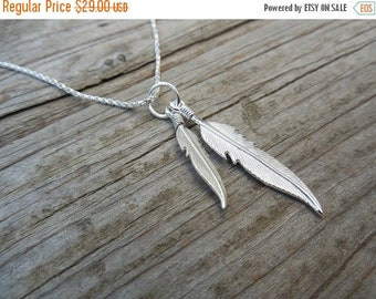 ON SALE Two feather necklace in sterling silver