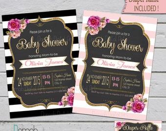 Purple baby shower invitation baby shower invitation purple baby shower invitation girl girl baby shower pink and gold baby shower invitation black stripe invitation baby shower girl floral gold filmwisefo