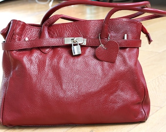Cherry Red Bayswater style Bag, Deep Red leather bag, Read leather shoulder bag, Large Red Leather Bag, Vintage Dark Red Leather Bag