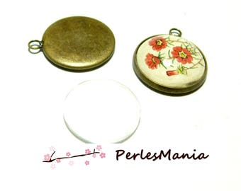 20 pieces: 10 round attached BRONZE 18mm and 10 cabochons pendants