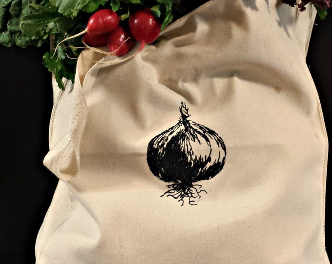 Farmer's Market Onion Embroidered Vintage Graphic Reusable Tote