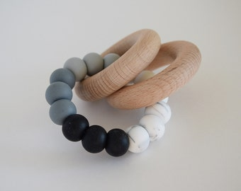 MONOCHROME Ombre Baby Rattle // Wooden Teether // Silicone Teether // Silicone beads // Teether Toy // Teething Ring // Teething Jewelry