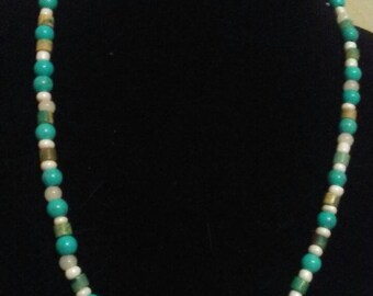 Turquoise and imperial jasper necklace