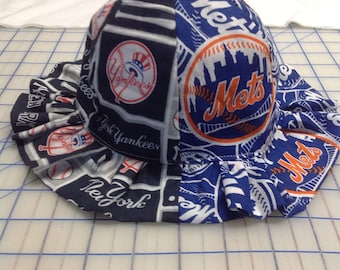 New York Yankees and New York Mets Inspired House Divided Baby Sun Hat