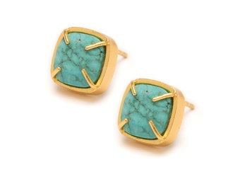 Turquoise Stud Earrings - Gold Gemstone Stud Earrings - Turquoise in Yellow Gold - 24k Gold Vermeil - Studs