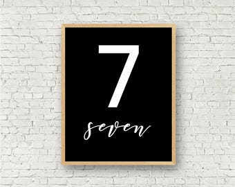 Number Seven // Simple 7 Printable // Individual Numbers Wall Art Print // 8x10 // Digital Print File // Numerology Gift // Black and White
