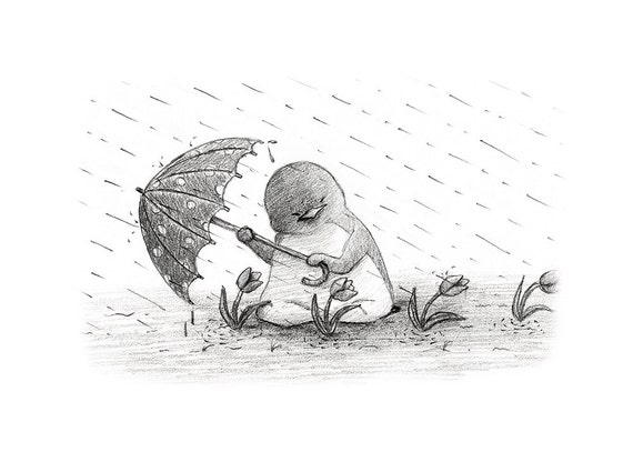 Items similar to rainy day 5x7 wall art pencil drawing illustration print with free bookmark on etsy