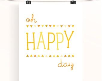 oh happy day - yellow nursery print - bunting triangle poster - children's wall art - nursery decor - baby nursery art - sunshine collection