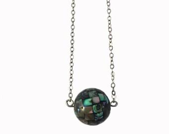 Abalone Mosaic Globe Necklace