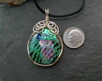 Handmade Pendant. Sterling Wrapped Fused Dichroic Glass Pendant. N-69. 2in. x 1in.