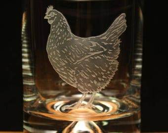 Chicken Hen Farm engraved glass tumbler gift present
