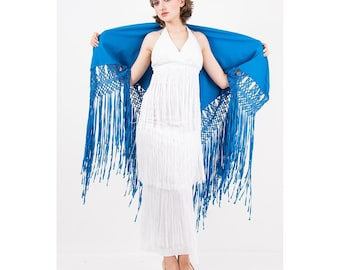 Vintage hand knotted fringe piano shawl / Royal blue wool with rayon ribbon fringe evening wrap / Decorative throw
