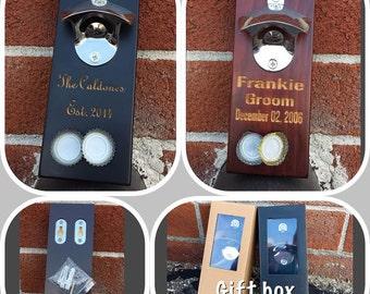 Personalized Bottle Opener/Wood Bottle Opener/Wall Mount Bottle Opener/Man Cave Gift/Beer Lover Gift/Bridal Party Gift/Rustic Beer