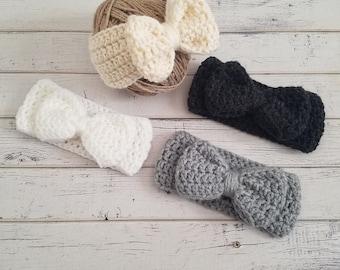 Crochet Bow Ear Warmer, Bow Headband, Crochet Bow Headwrap, Bow Headband, Bow Earwarmer, Child, Toddler, Baby, Ear Warmer, MADE TO ORDER