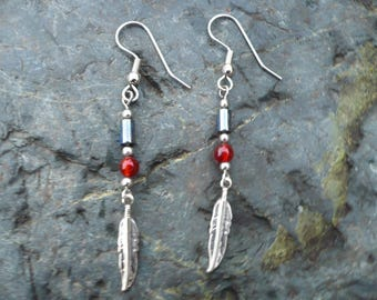 Red Onyx Feather Earrings