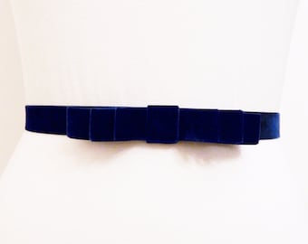 Navy Blue Velvet Bow Belt
