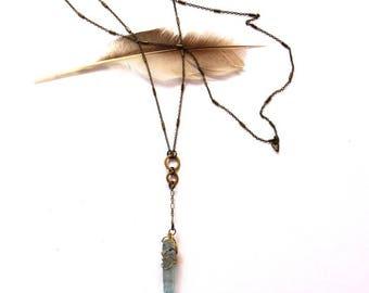 Wire Wrapped Blue Quartz Necklace