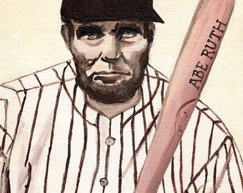 Abe Ruth // Lincoln Yankees pun art - art print