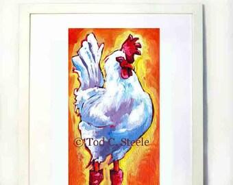 """Chicken Painting ,Chicken Print, Chicken Art, Chicken Wall Decor, Chicken Art Print , 5 x 10"""" by Tod C. Steele"""