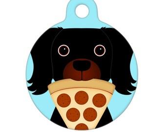 Pet ID Tag - Pizza Thief Black Dog Pet Tag, Cat Tag, Dog Tag
