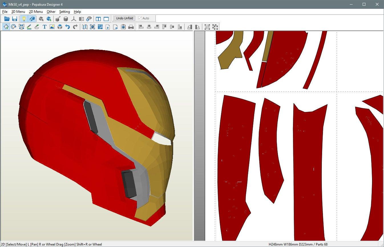 Patrón de marca 48/50 Pepakura casco DIY actualizado 15 de