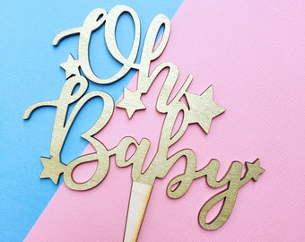 Oh Baby Baby shower calligraphy cake topper