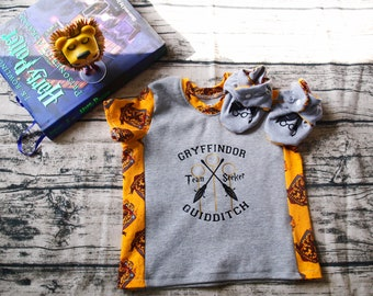 Harry Potter Birthday   Harry Potter Outfit   Baby Booties   Baby Shoes   Harry Potter Shirt   Gryffindor Quidditch   Harry Potter Baby