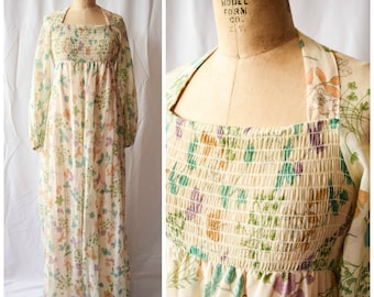 1970s Gown | Botanica | Vintage 70's Halter Maxi Dress with Long Sleeves | Gauzy Cotton Lawn Romantic Floral Print Smocked Bodice Size S
