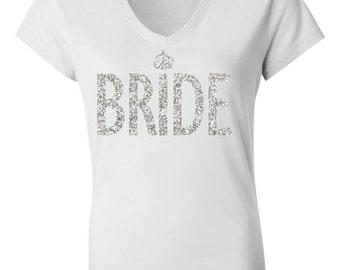 BRIDE GLITTER SHIRT White V-neck, Engagement Shirt, Bridal Shirt, Bride Vneck, Wedding shirt, wedding gift, Engagement