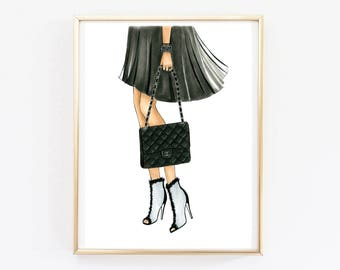 Chanel fashion art Chanel print Chanel art  High fashion art Fashion illustration Fashion poster Winter fashion art Girly wall art