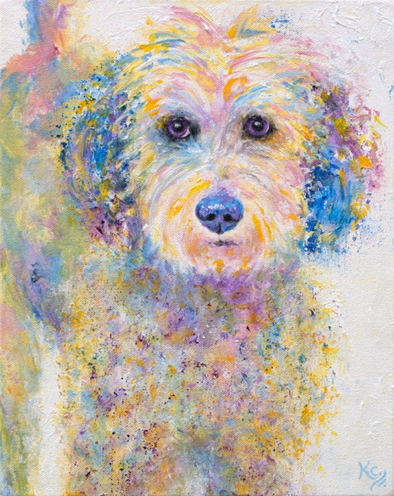 "Golden Doodle Art - Golden Doodle Gifts, Goldendoodle Dog Art, Pop Art Dog Wall Art, Dog Art Print, Print of My Dog Painting ""Oliver""."