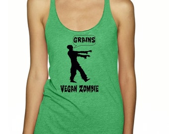 Vegan Zombie Tank Top Womens Veggie Vegan vegeterian Shirt gift Clothing Exercise Tops Active shirts for the gym veggie lovers zombies Shirt
