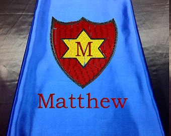 Super Hero Cape, Kids Cape Super Shield Star Embroidered Personalized with Name Royal Blue