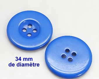 """1 large plain resin """"blue"""" 34 mm round button not expensive €0,50"""