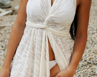 White Cover up, Beach Cover up, See-through Cover up, Convertible Cover up, Swimsuit Cover up, Beach Dress, Sundress, Wrap Cover up