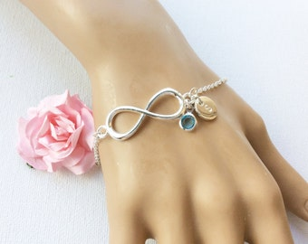 Silver Personalized Infinity Bracelet, Birthstone bracelet, Infinity Jewelry, Friendship Bracelet, silver Infinity,Personalized Bracelet,