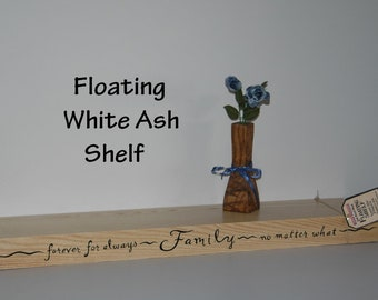 """FLOATING SHELF - Hard Wood White Ash 26"""" Long - Hand Painted - No Brackets - All Hardware & Instructions Included"""