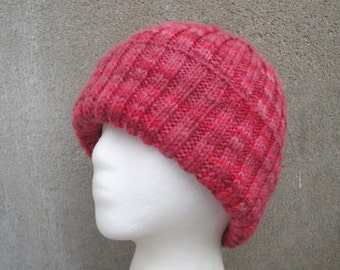 Red Striped Beanie Hat, Unusual, Knit 100% Wool, Watch Cap, Teens Men Women