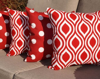 Polka Dot Red and Nicole Rojo Red and White Outdoor Throw Pillows - Set of 4  - Free shipping