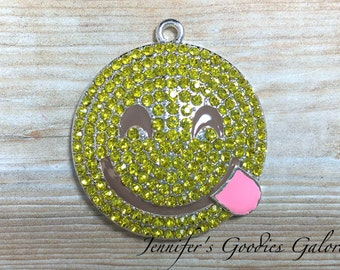 Smiley face pendant etsy 36mm smiley face pendant emoticon rhinestone pendant emoji pendant yellow smile face chunky necklace beads emoji necklace aloadofball
