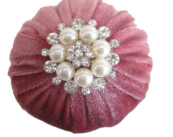 """2"""" Tea Rose Velvet Pincushion Filled With Abrasive Emery Mineral To Keep Your Needles Clean & Sharp"""