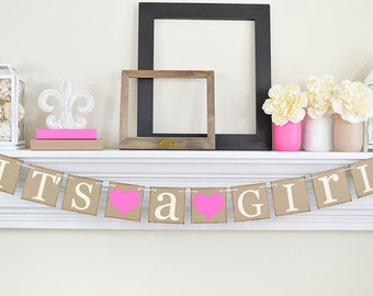 IT'S A GIRL Banner, Customize Colors, Baby Shower Decorations, Gender Announcements, Its a Girl Sign, Baby Shower, Fuchsia Pink Baby Shower