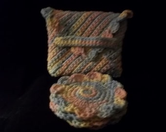 FREE SHIPPING  -  Hand Crocheted - Flower Coasters with Envelope for Storage- Set of Four- Multi Pastels
