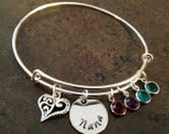 Personalized Charm Bracelet, Hand Stamped Jewelry, Expandable Wire Bangle, Grandmother, Alex Style, Nana, Gigi, Mother, Mommy, Gift