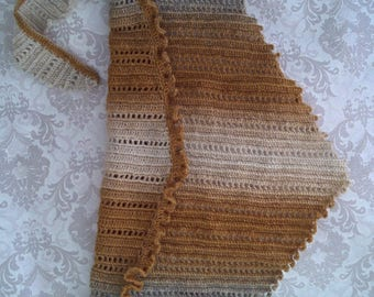 Fancy Wool baktus, solitaire on the neck, cold and frost protection in winter, accessories to clothes, crocheted by a warm accessory,