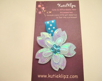 SALE - Iridescent Turquoise Blue Flower Hair Clip, Hair Accessory, Hair Bow
