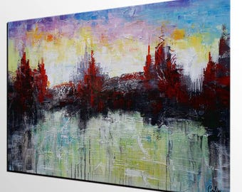 Cityscape Painting, Large Art, Canvas Art, Wall Art, Abstract Art, Canvas Painting, Large Art, Abstract Painting, Oil Painting, Modern Art